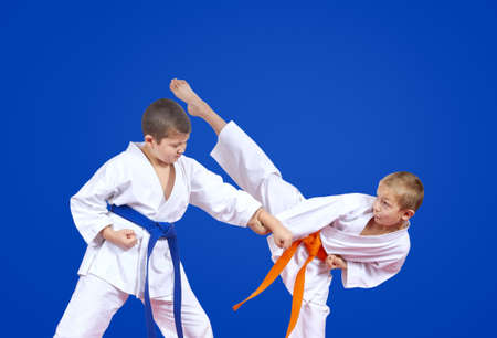 Two karateka are training karate blows Banco de Imagens