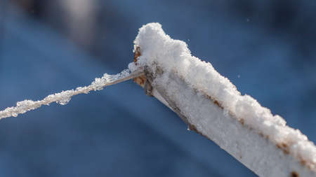 Clothesline covered with ice and snow