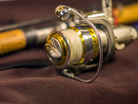 Beautiful gold fishing rod and reel closeup