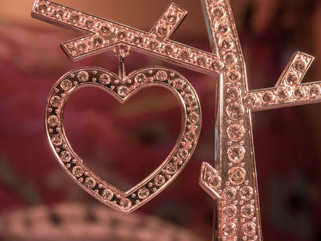 diamond background: Diamond heart on the blurred background