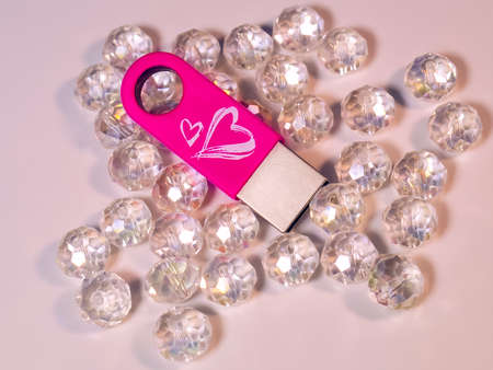 Pink USB flash drive with heart and gems