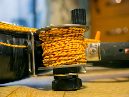 The robust coil with bright rope close up Stock Photo