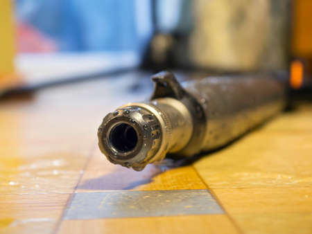 The muzzle for spearfishing gun close up Stock Photo