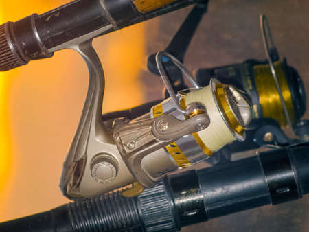 The beautiful golden reel for the fishing