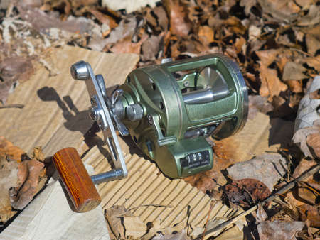 The robust reel for fishing in the sea Stock Photo