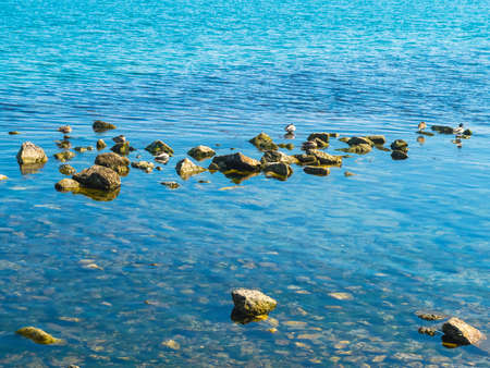 The pure blue water and stones in the sea