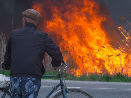 fireman: A cyclist looks at a fire near a road