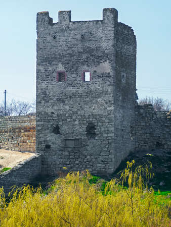 Tower of Genoese fortress in Feodosia, Crimea, Russia