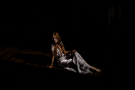 A beautiful girl in a dark room, light falls on her through the blinds, forming a striped pattern on the silhouette.