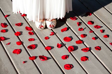The legs of the bride in white heels and the hem of a wedding dress, among rose petals on the terrace