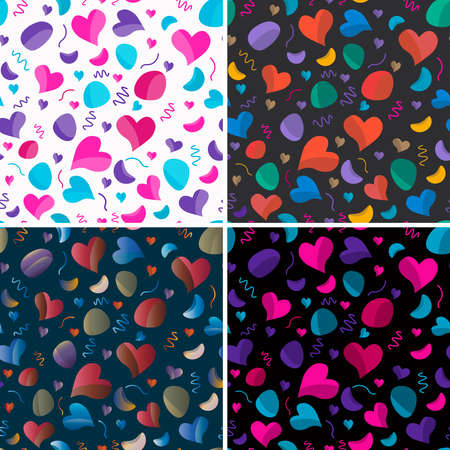 Patterns with a festive theme. Hearts, serpentine, candy all for a festive mood. Eps10 vector template. Banco de Imagens - 124981594