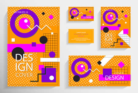 Set of memphis style posters. Collection of cool bright covers. Vector graphic geometric elements and shapes for modern art. Covers for placard, poster, magazine, brochure, flyer or banner design. Eps10 vector Ilustração