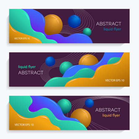 Colorful liquid flyers. Abstract background with multi-colored liquid and round shapes. Festive cover design for greeting cards, invitations, presentations, layout design, book cover, etc. EPS10 vector