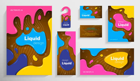 Set of colorful brochures in liquid style. Bright liquid bubble shapes. Fashionable design. Ideal for advertising, presentations, invitations, cards, flyers, holidays, etc. vector illustration.