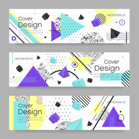 Covers templates set with bauhaus, memphis and hipster style graphic geometric elements. Applicable for placards, brochures, posters, covers and banners. Vector Illustration