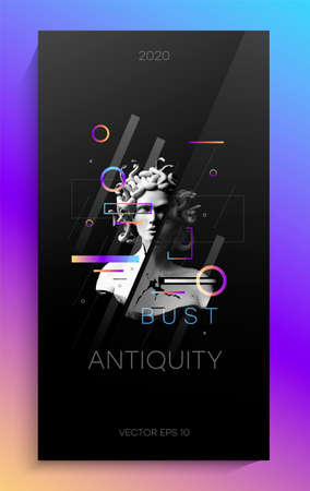Creative art poster with antique bust. The design consists of an Antique Bust of the Gorgon Medusa, gradient circles and lines, and a small amount of typography.