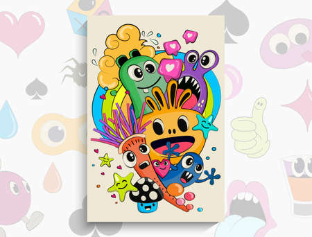 Cartoon Doodles pattern with monsters. Vector hand drawn doodle cartoon. Fine art doodles. EPS 10 vector Illustration