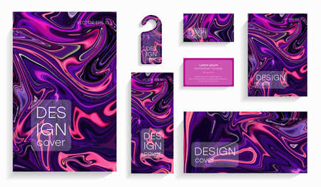 Set of acrylic colorful brochures. Modern artwork. Trendy design. Marble effect painting. Graphic hand drawn design for design. Contrast, liquid.