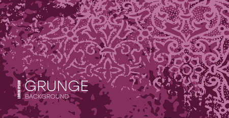 Burgundy grunge background. Vintage horizontal background, burgundy with grunge texture, classic baroque. 矢量图像