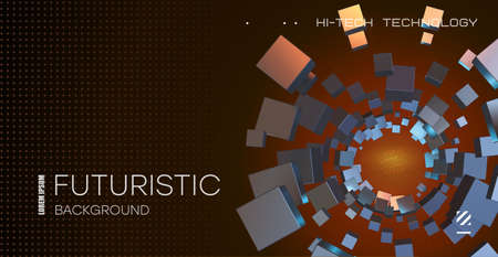 Abstract technological background. Space abstract technology background. Cubes flying in a whirlpool.