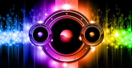 Neon music background. Colorful modern illustration for advertising concerts, nightclubs, parties. Vector.