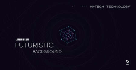 Futuristic background with funnel in space. Technical design, open space with funnel-shaped geometric lines. Wireframe space tunnel. Vector