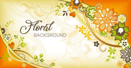 Luxurious floral background. Vintage ornament, pattern. Wavy curves decor Vector