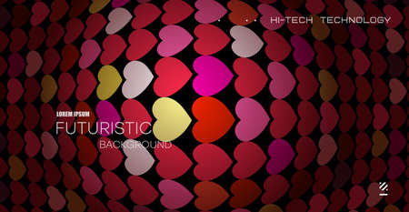 Bright abstract pattern of hearts. Red lighting background with raised perspective distortion. Çizim