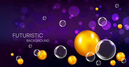Realistic background with colorful bubbles and reflection effect. Transparent and yellow balls with highlights and a gradient on a purple background.