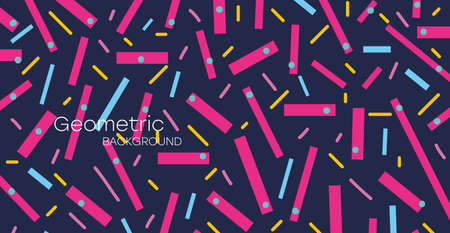 Geometric background. Bauhaus, Memphis minimalist retro poster graphic vector illustration. Abstract trendy pattern with colored sticks and dots.