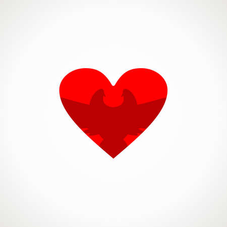 faithfulness: Dove in red heart. Expression of love.