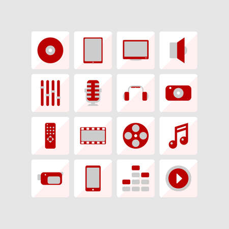 Icons of multimedia. Red and gray. Vector format. Vector