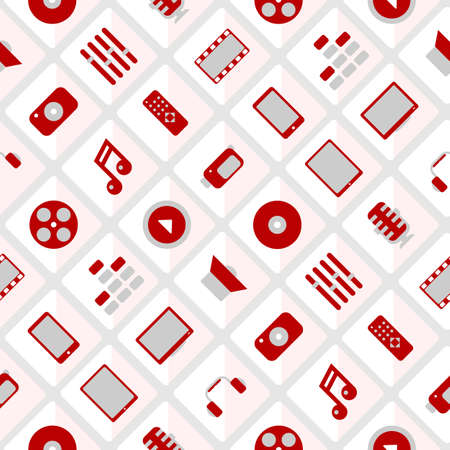 Pattern multimedia. Red and gray. Vector format. seamless Vector