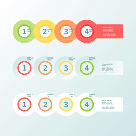 Infogaphics simple. 4 steps - 4color. Vector