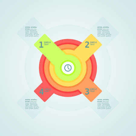 Infogaphics time. 4 steps - 4color. Vector