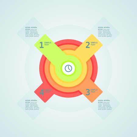 Infogaphics time. 4 steps - 4color. Illustration