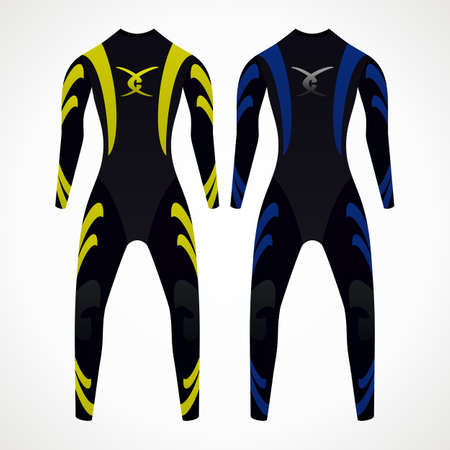 wetsuit: Diving wetsuit. yellow and blue color. vector format.