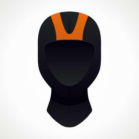 wetsuit: diving helmet. orange and black color. vector format