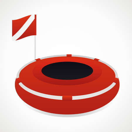 immersion: Diving buoy. red with a flag. vector format Illustration