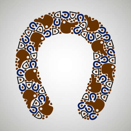 stirrup: pattern horseshoes, colorful, vector format