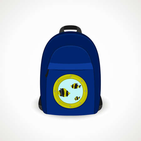 backpack with portholes for tourists; blue; vector format.