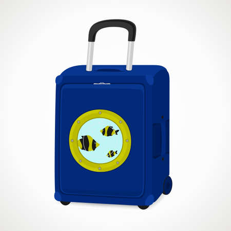 suitcase with portholes for tourists, blue, vector format.