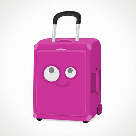packing suitcase: valigia con una museruola per le ragazze, rosa, formato vettoriale.