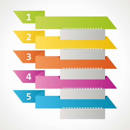 colored ribbons - steps to infographics. vector format. Vector
