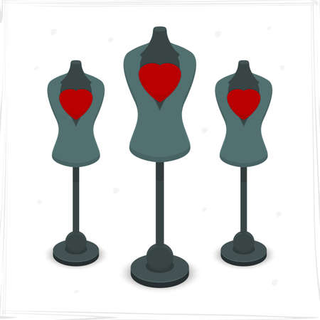 underlying: Mannequin with heart for the store. Vector format. Illustration