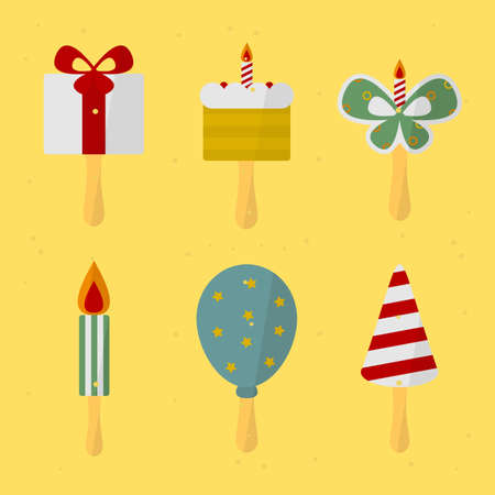 the attributes: set of attributes birthday. vector format.