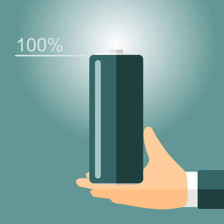 stern: energy is 100% hand and the battery. vector format.