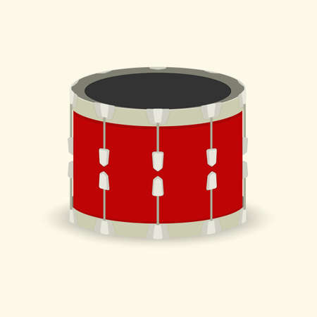 loudly: drum, musical instrument, red. vector format.