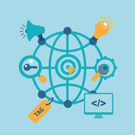 debugging: seo set light blue for web site. vector format.