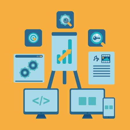 debugging: seo set orange for web site. vector format.